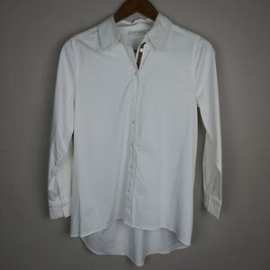 Susan Graver Stretch Cotton Button Front Shirt